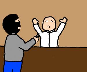 Man robbing a bank