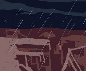 Raining over a deserted City.