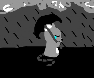A mouse crying because it's raining