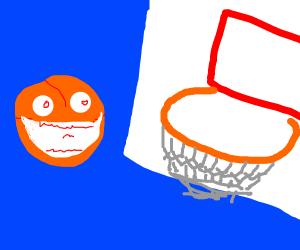 A happy ball near a basketball hoop