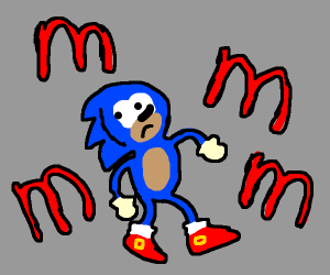 sonic is surrounded by the letter m