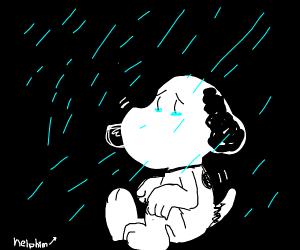 snoopy is depressed in the rain help him