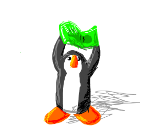 Penguin holding a dollar bill.