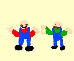 Bald, hatless mario bros