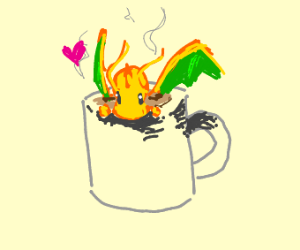 tiny dragonite in a coffee mug