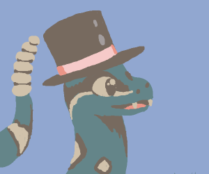 rattle snake with a top hat