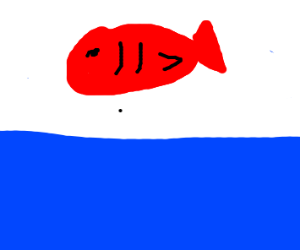 red fish above the water