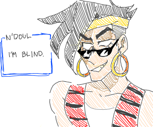Some Jojo character with sunglasses on head