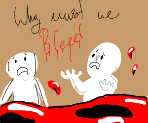 Two people bleeding, confused.