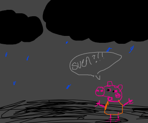 peppa the pig in a thunderstorm shouting SVEN