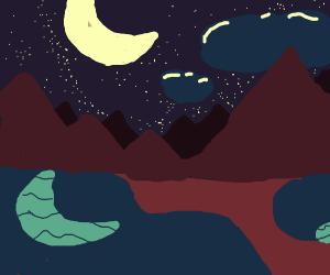 Lake and mountains at midnight