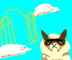 grumpy cat at the gates of heaven