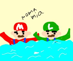 the mario bros drown