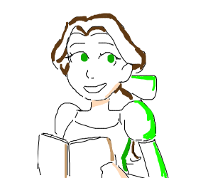 Woman in green dress holding book