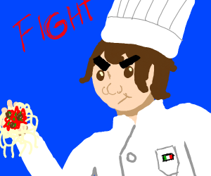 Italian chef attacking enemy with spaghetti