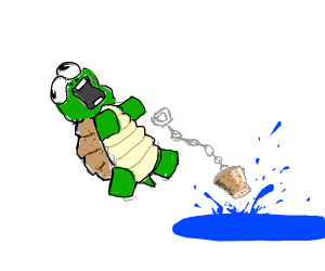 turtle pulls the drain plug of the lake