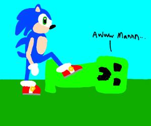 Sonic stepping on a Crepper saying Awww Mannn