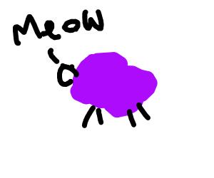 purple sheep says meow