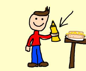 person holding mustard
