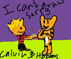 calvin and hobbs share a burger