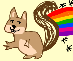 A squirel pooping rainbows