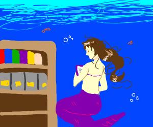 mermaid goes to undersea library