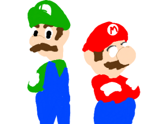mario and luigi but mario is missing a pupil