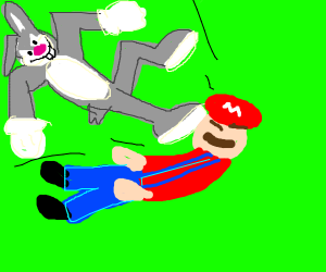 bugs bunny attacking mario