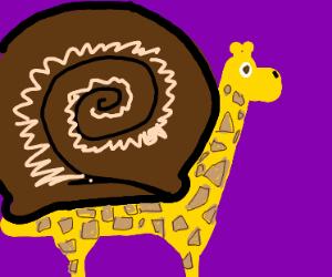Giraffe has snail shell