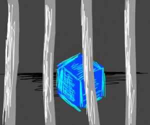 blue box behind prison bars