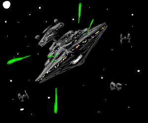 Cool af spaceship shooting lasers