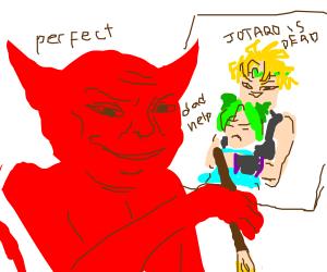 satan makes fanart of dio kidnapping a girl