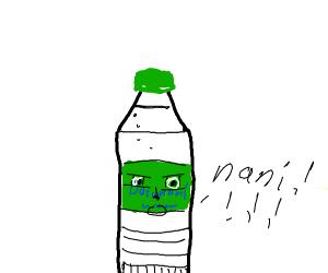 "Water bottle says: ""N-NANI?!?"""