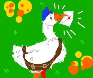 duck/goose delivering mail