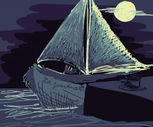 Sailboat in Still Waters at Night
