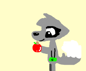 wolf buying a apple