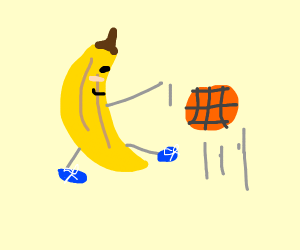 banana with sneaker plays basketball