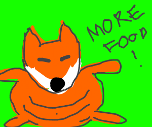 Fat fox is still hungry
