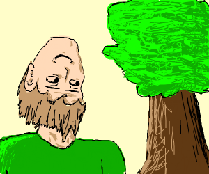 Man with upside down face looks at tree