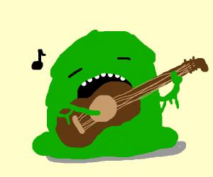 slimy monster plays guitar