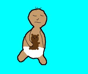 small baby sleeping with teddy bear
