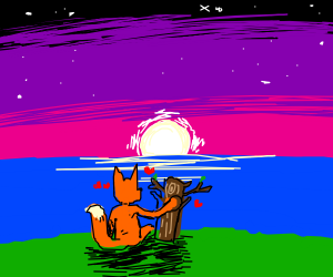 A Fox and a free romanticly watching a sunset