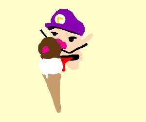 waluigi licking ice-cream