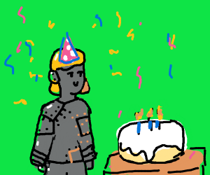 Robot girl celebrates her birthday.