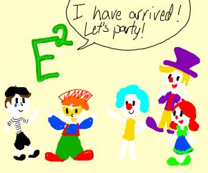 E2 green at clown party