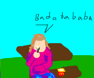 A girl eating yogurt and loving it