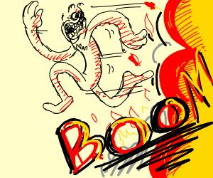 man runs from explosion
