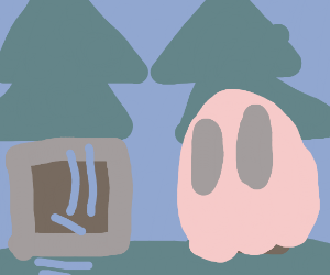 A robot and a ghost in a forest