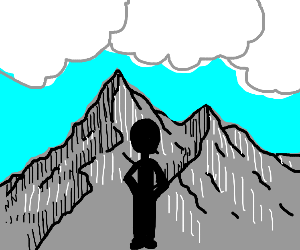 Person standing in front of mountains and sun