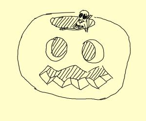 spooky skeleton in big spooky pumpkin